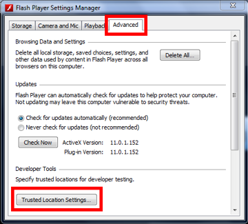 Settings Manager Trusted Location Settings