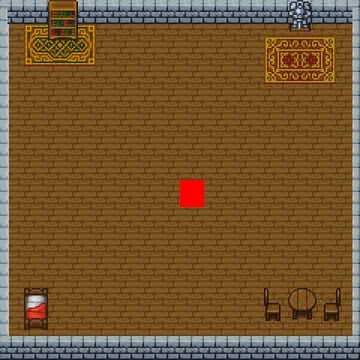 an indoor room with wooden floors, stone walls, furniture, and a red square player in the middle