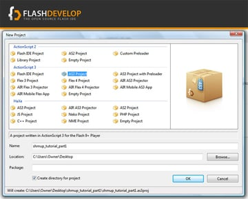 Create an .AS3 project using FlashDevelop