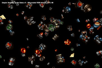 Screenshot of our final .SWF in action. Sprite-o-licious!