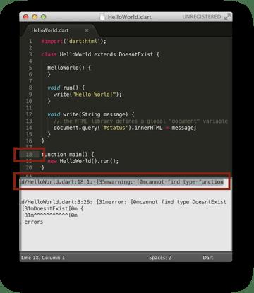The Build System highlighting an error