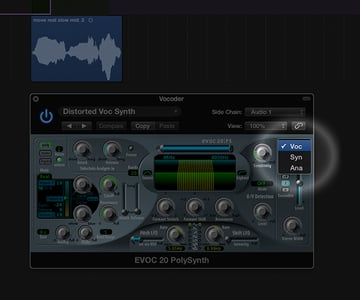 """In the Evoc 20 PS select """"voc"""" from the signal dropdown menu to switch the synth to vocoder"""