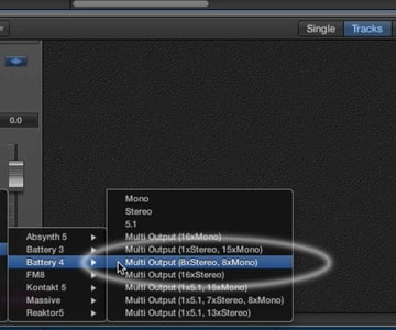 When initiating an instance of Battery 4, you can choose from multiple output configurations, including <em>Multi Output</em>