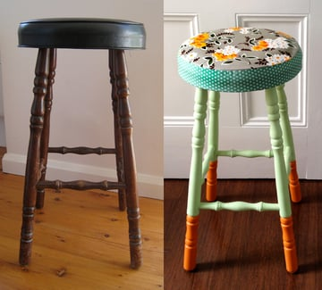 boring old stool a beautiful makeover beforeAfter