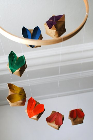 the red thread origami bunny mobile