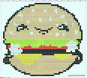 Kawaii Burger Cross Stitch Chart