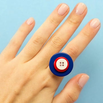 4th of July Button Ring Tutorial