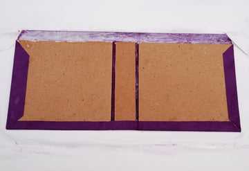 Fold the top and bottom flaps onto the case boards and spine