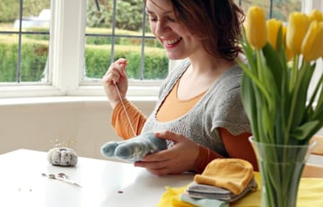 Eleanna Kotsikou sewing a softie toy