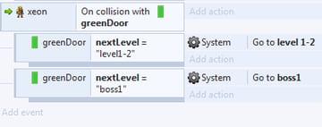 change level when touches green door