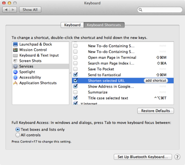 Adding a keyboard shortcut for the new service