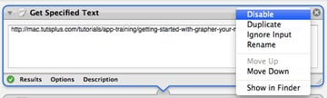 """Disabling the """"Get Specified Text"""" action so the new service will work with selected text"""