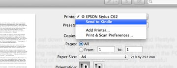 Send to Kindle in the OS X printing dialog.