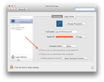A checkbox to switch on password resetting using your Apple ID.