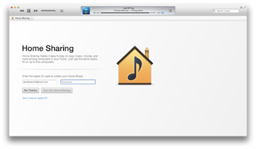 Switching on Home Sharing requires a quick log-in.
