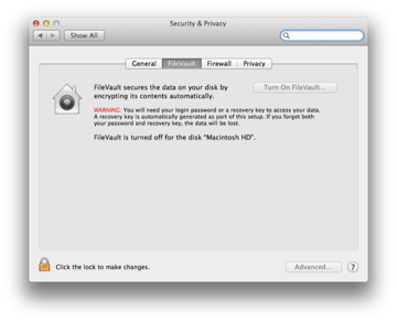 Disabling the FileVault service to use file sharing.