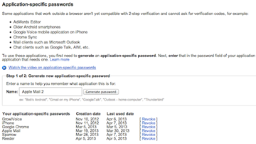 Generating a new application-specific password for Apple Mail.