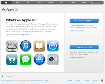 Creating your Apple ID on the Apple website.