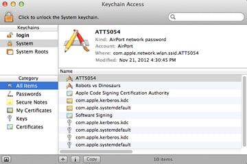The Keychain window layout is relatively straightforward.
