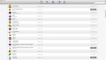 Every app you've purchased from the Mac App Store is listed under this tab for you to re-download whenever necessary
