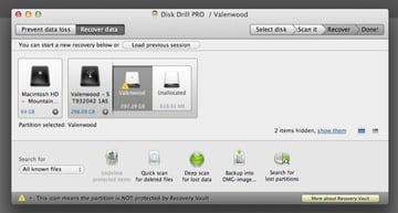Select the drive and volume you need to recover data from