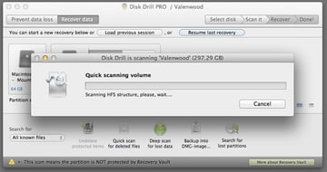 Disk Drill Pro will display a progress bar of the scan