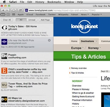 The Reading List appears as a separate pane in Safari