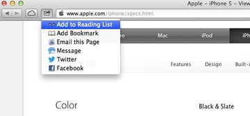 The Share button can be used for sending items to the Reading List