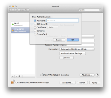 Step 5 Select Authentication Settings and then enter the password