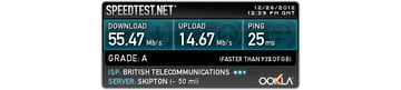 The speed test shows the nearest testing server as well as ISP information