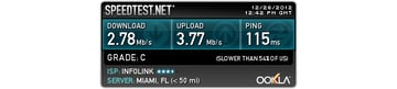 When using a VPN connection the speed test believes I am located near Miami