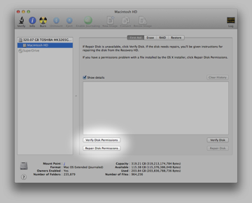 The Disk Permissions Tools inside Disk Utility