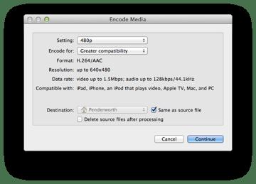 Finder's hidden media encoding window.