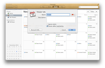 Using the Get Info pane to edit an existing calendar.
