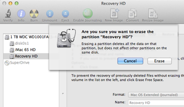 Erasing the Recovery Partition.