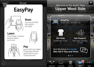 The Apple Store App with EasyPay uses your Apple ID to instantly purchase select accessories.