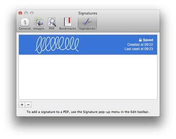 Signatures are managed directly in Preview.