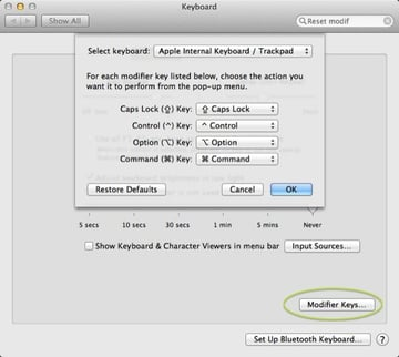 Step 2 Select Modifier Keys to change the actions