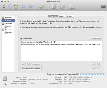 Disk Utilitys permissions repair is straightforward to use