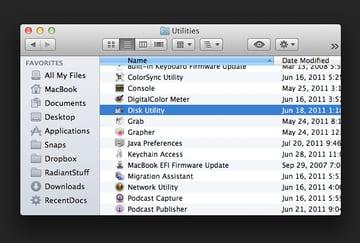 The Utilities folder is inside the Applications folder