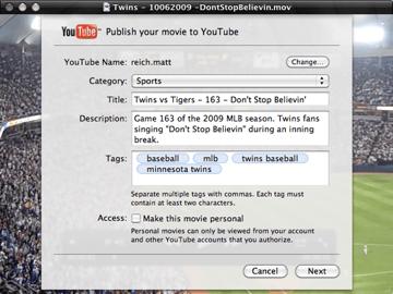 YouTube Share Dialog