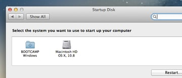 Selecting a default startup disk is easy to do in both Windows and OS X