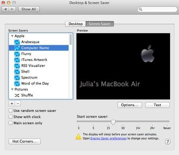 Set and adjust your screensaver