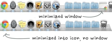 Minimize windows separately into the dock or into their respective app icon