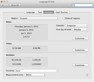 Adjust date, time and number formats throughout the OS