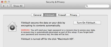 Enable FileVault