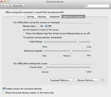 Assistive Support for Mouse and Trackpad