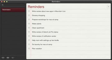 Reminders for Mac in Mountain Lion