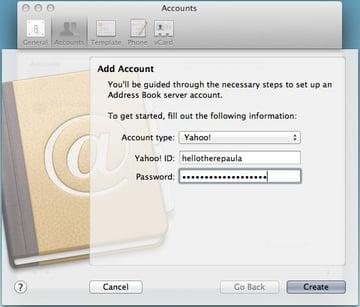 Adding a Yahoo! account to Address Book