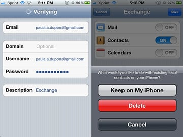 Setting up an Exchange account to sync contacts